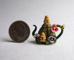 Handmade Miniature  BEE HIVES IN GARDEN TEAPOT -  OOAK C. Rohal #CRohal