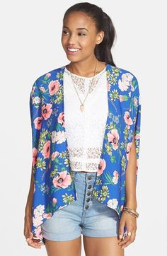 FLYING TOMATO Floral Print Kimono Jacket (Juniors) available at #Nordstrom