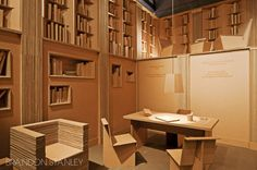 Cardboard Library by Fernando Moro at CasaCor Chile 2012