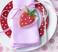 #strawberry themed table setting