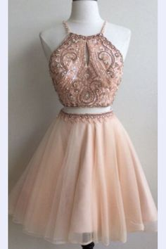 Cheap Homecoming Dresses,Two Piece Straps Short Prom Dress With Key Hole, SH87