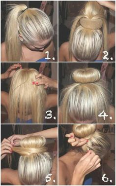 sock bun for people with layered hair.