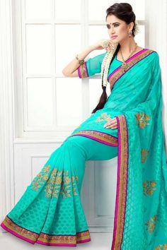 Turquoise Chiffon Embroidered Party and Festival Saree Sku Code:210-4472SA468692 $ 66.00