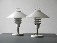 Two 60s 70s metal blade table lamps with lampshades by RetroRaum $551.71