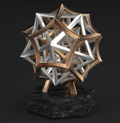 The five Platonic solids in stainless steel and bronze with sterling silver castings on a granite base (Bathsheba Sculpture).