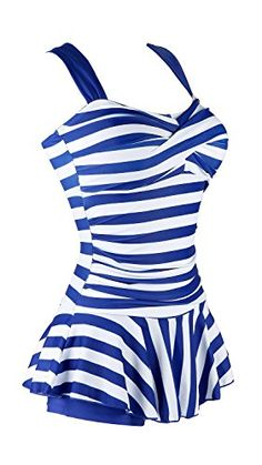 Women's One-Piece Swimsuits - MiYang Womens One Piece Striped Slim Padded Swim Dress Bathing Swimwear *** Check this awesome product by going to the link at the image.