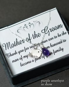 personalized,purple amethyst,peacock ,charm,birthstone,wedding,necklace,Mother of the groom bride card.mother in law gift.monogram gift, mom