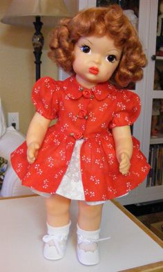 "TERRI LEE RED ORGANDY REDINGOTE WITH TINY WHITE FLOWERS FOR 16"" DOLL #TERRILEEDOLL #DollswithClothingAccessories"