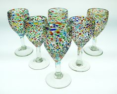 WINE Glass, hand blown, pebble / bumpy confetti, Mexican Glass, 12 oz (set of 6) #Mexico #Wine #Glassware