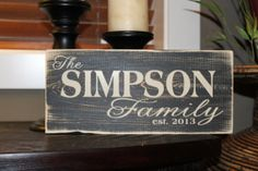 Personalized Family Name Established Date, Wedding Sign, hand painted wood sign with vinyl lettering - Style FA25 on Etsy, $20.00