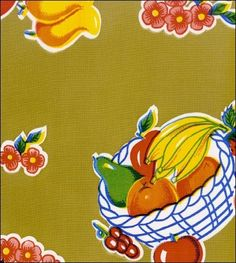 Round Oilcloth Tablecloths in Fruit Basket