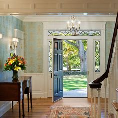 Stunning traditional foyer!  Love the door!