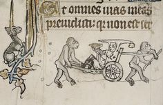 Clown in Barrow wheeled by two Apes. Ghent c.1320-30. MS Douce 6. Bodl. Lib, | by tony harrison