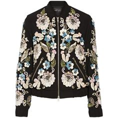 Needle & Thread Oriental Garden embellished crepe bomber jacket (27.720 RUB) ❤ liked on Polyvore featuring outerwear, jackets, coats & jackets, tops, coats, black, black zipper jacket, floral print bomber jacket, floral bomber jacket and embellished jacket
