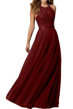 Audrey Bride Sexy Halter Long Prom Dresses Beaded Evening Gowns for Woman-4-Dark Red