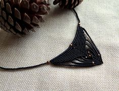 Black micro-macramé unique beaded choker necklace tribal