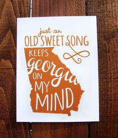 Georgia Print: Georgia on My Mind Letterpress Wall Art.