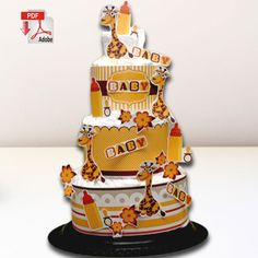 Baby Giraffe Diaper Cake Template