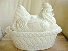 Antique Chicken On Nest | Chicken on Nest, Hen on Nest Vintage Soup Tureen, White Farmhouse ...