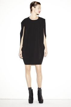 $437.74 830 Sign chic and cool total black dress!! http://www.flooly.com/us/vestito-corto-donna-830sign/13895