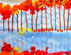 2nd Grade Monoprints: Fall Reflections | Lessons from the K-12 Art Room