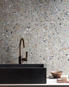 Terrazzo Nouveau Cognac Matt Porcelain Tile | Mandarin Stone Terrazo Flooring, Mandarin Stone, Terrazzo Tile, House Tiles, Polished Concrete, Decorative Tile, Bathroom Interior Design, Porcelain Tile, Cement