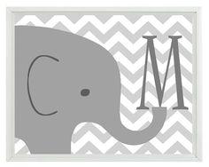 Elefante vivero pared lámina - letra inicial Chevron gris Decor - niños habitación niño bebé - pared arte Home Decor impresión