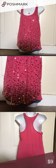 Express hot pink sequin racer back tank top Perfect condition express hold sequin racer back hot pink tank size small amazing condition super cute and flirty great for special occasion or night out women's clothes juniors bundle lot cheap sale deal Express Tops Tank Tops