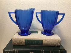 Vintage Hazel Atlas Newport Hairpin Cobalt Depression Glass