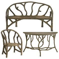Arbor Garden Bench, Console Table and Chair Painted Furniture, Furniture Sets, Outdoor Furniture, Cottage Style Furniture, Outdoor Seating, Outdoor Decor, Table And Chairs, Console Table, Garden Art
