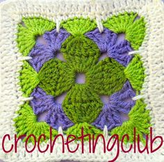 crochetingclub: Jan Eaton: tricolor square. original y versión crochetingclub