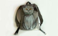 Plecak ręcznie malowany kot w Monika Bordo na DaWanda.com