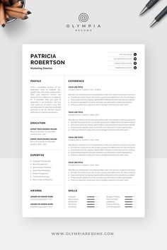 Professional Resume Template for Word and Pages One Page Resume Template, Modern Resume Template, Creative Resume Templates, Cv Template, Creative Cv, Cover Letter For Resume, Cover Letter Template, Letter Templates, Templates Free