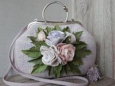 Felt purseFelted handbaghandbag with flowerswomen's
