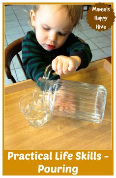 Montessori toddler kitchen: simple practical life pouring skill tip. From www.mamashappyhive.com