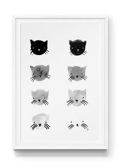 Greyscale Kitties Print