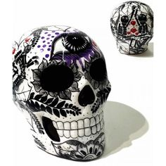 ceramic sugar skull black white day of the dead tattoo dia de los