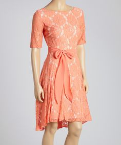 Julian Taylor Coral Rose Lace Scoop Neck Dress by Julian Taylor #zulily #zulilyfinds