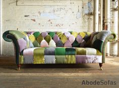 Modern British Handmade Bold Pink Green Patchwork Chesterfield Sofa Totally Unique Fabric