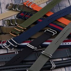 Buy our black/green/red Heavy NATO watch strap offered in 3-ring or 5-ring. This strap is made from extremely durable nylon without risking comfort!