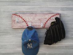 Baseball Red Softball Player Hanger 4 Hook Rack Back To School Kids Room Decor Handpainted Custom Team Color Personalized Name Number