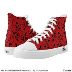 Red Black Floral Swirl Damask Zizzago Printed Shoes