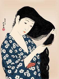 Hashiguchi Goyou (1880-1921) 橋口五葉 Woman Combing Her Hair 髪梳ける女、1920