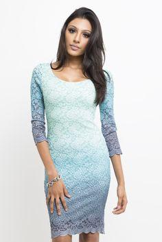 La Mer Lace Dress #aqua #blue #dress #lace #long-sleeves #ombre #short #spring #summer #turquoise #women #womens
