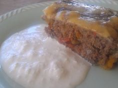 Köttfärs- och paprikalåda med ostcremé
