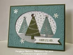 Fun Stampin' with Margaret!  Festival of Trees set.  CCMC326 Color challenge, Lost Lagoon, Mossy Meadow & Silver.  Filagree Frame TIEF, All is Calm DSP.