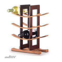 Wine Rack 12 Bottle Tabletop Home Decor Wood Elegant Storage Restaurant Basement