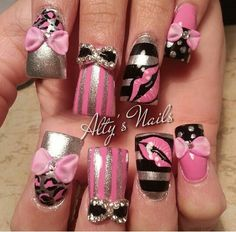 "Everything About These Nails Screams ""Girly! Get Nails, Fancy Nails, Bling Nails, Pretty Nails, Hair And Nails, Fabulous Nails, Perfect Nails, Bow Nail Designs, Duck Nails"