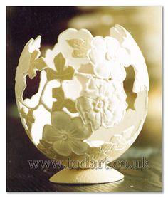 Floral Egg  Carved Ostrich Egg