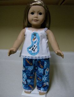 FROZEN OLAF PAJAMA SET Snowman 18 inch Doll Clothes AMERICAN GIRL TOY 3+  2192